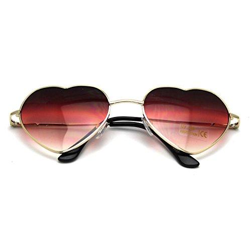DDU(TM) 1 Stück Rot Damen Metall Sonnenbrillen Nettes Herz-Form-Design Objektiv Outdoor Brillen