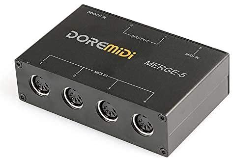 CAMOLA USB MIDI MERGE-5 Box 5-IN 2-OUT MIDI Interface Converter Adapter
