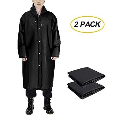 Borogo EVA Portable Raincoat - Reusable Rain Poncho for Adults with Drawstring Hood - Emergency Rain Coat for Theme Park, Hiking, Camping or Traveling (2 Packs)