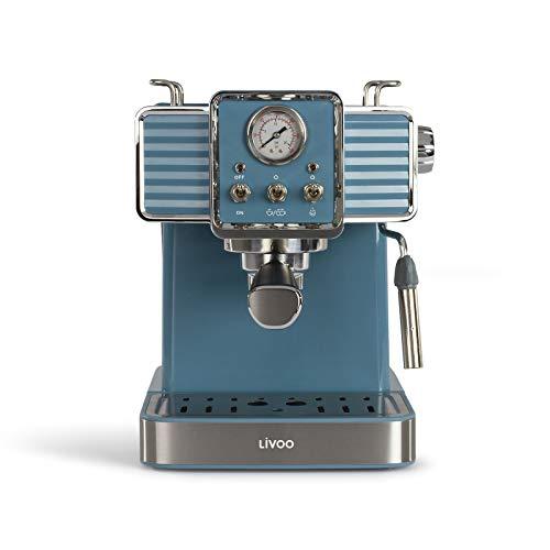 Espressomaschine Elektrisch Kaffeeautomat Kaffeemaschine Espressobereiter Retro (Milchaufschäumer, 4 Tassen, Kaffeepulver, Kaffeepads, 15 bar)