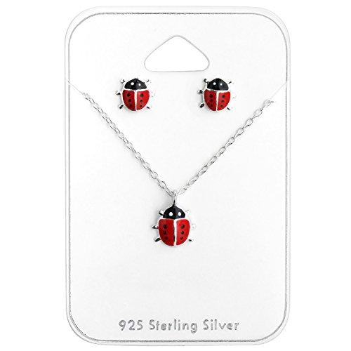 Monkimau Mädchen Halskette Marienkäfer Glücksbringer Anhänger aus 925 Sterling Silver echt Silber mit Ohrstecker Set Emaille Rot Schwarz 39cm Kette