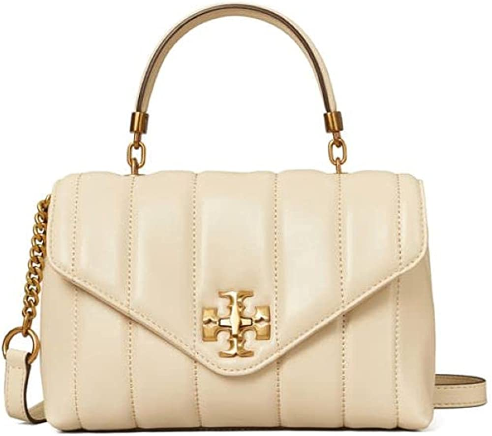 Tory Burch Kira Small Top Handle Handbag Brie Ivory White Leather