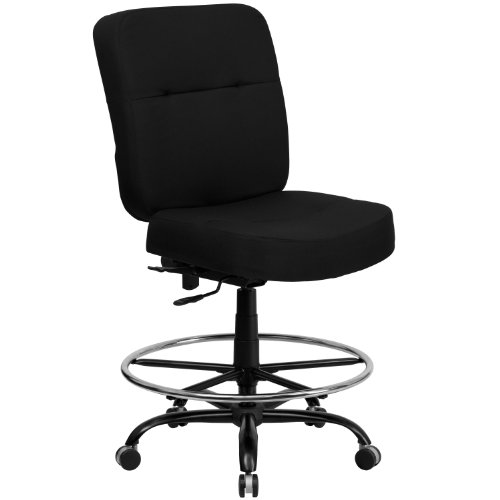 Big Sale Flash Furniture WL-735SYG-BK-D-GG Hercules Series 400-Pound Big/Tall Black Fabric Drafting Stool