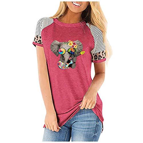 Floweworld🍒 Sommer T-Shirts für Frauen Lustiger Elefant mit Leoparden Brille Print T-Shirts Tunika Tops Sweatshirts Blusen, Neuheit Einfaches Shirt Basic T-Shirt Bluse