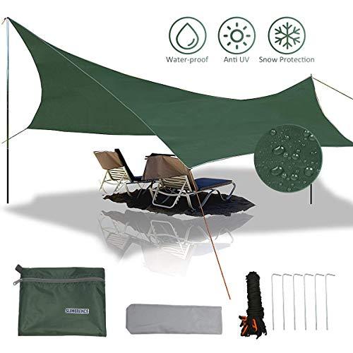 Slimerence Camping Sonnenschutz Zeltplane Camping Regenplane Leichte wasserdichte Tent Tarp Regenschutz Sonnenschutz für Ourdoor Camping 5-6 Personen Faltbare Kleines Volumen Zeltplane Mehrzweck