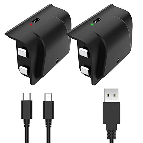 YCCSKY Xbox One Rechargeable Battery Pack, 2 Pack 1200mAh Xbox One Controller Battery Pack Play and Charge Kit for Xbox One S/X/Elite Controller with 3FT Micro USB Charging Cable with LED Indicator