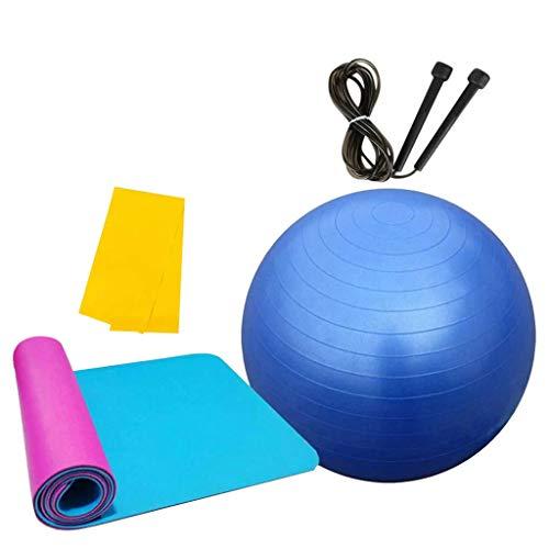 MOTOCO Pilates Gymnastikmatte, Yoga Ausrüstung Beinhaltet 1 Balance Ball + 1 Yogamatten + 1 Springseile + 1 Widerstandsband – für Gym Yoga Sport Bodenübung(180X60X1CM.Blau)