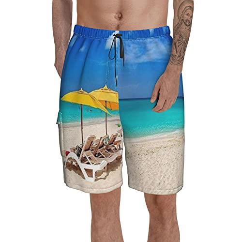Pantalones cortos deportivos de fitness para hombre con pantalones de playa de bolsillo, pantalones cortos de playa, pantalones cortos de estilo costero