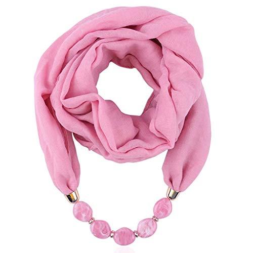 QIMANZI Bettwäsche aus Baumwolle Halskette Anhänger Schal Damen Frau oho Beach Schal Elegant BeiläufigWickeln Halskette Schal Halskette Herbstschal(Rosa)