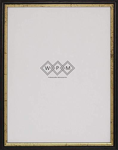 Bilderrahmen aus Holz, Schwarz/Gold, DIN A4, WPM - Wechselrahmen Profil 6-55