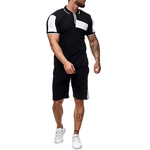 Trainingsanzüge Herren Sportanzug Summer Home Stripe Farbkollision Kurzarm Henley T-Shirts Shorts Sportswear-Sets Große Größen Jogging Fitness Sport Dünne Outfit, Weiß, XXX-Large