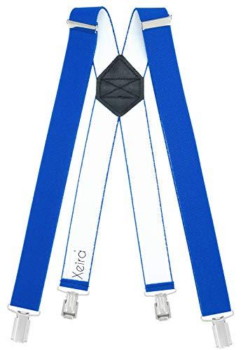 Xeira Hosenträger Königsblau XXXXL - 150cm Länge X Design für Herren und Damen mit 4 soliden Clips und Schwarzen Leder