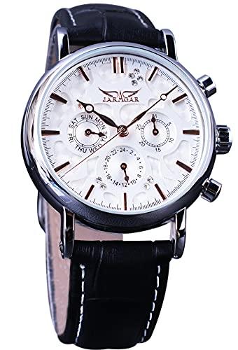 Jaragar Reloj de pulsera mecánico de 3 diales, unisex, multifuncional, automático, reloj de acero inoxidable de oro rosa
