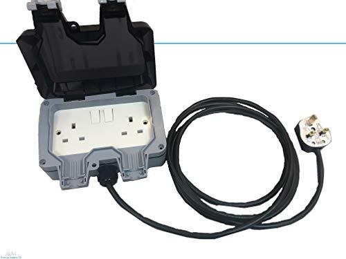 Photo of 2G 2 Gang IP66 Weatherproof Outdoor Extension Lead Waterproof Double Socket All Lengths (25M)