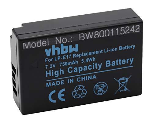 vhbw Batería Recargable Compatible con Canon EOS 200D, 250D, 750D, 760D, 77D, 8000D, 800D, 850D cámara Digital, DSLR (750 mAh, 7,2 V, Li-Ion)