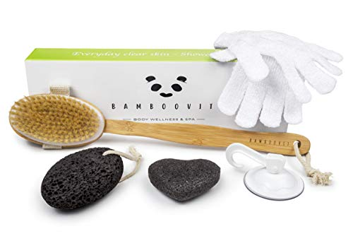 BambooVit 5 in 1 Rückenbürste Set - Körperbürste abnehmbar mit langem Stiel aus natürlichem Bambus, Bimsstein, Peeling Handschuhe und Konjac Schwamm für reine weiche...