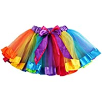 PinkLu Falda De Malla De Arco Iris De Siete Colores NiñAs NiñOs Enagua Arco Iris Pettiskirt Falda Bowknot Vestido Tutu De Baile Ropa (Small, Multicolor)