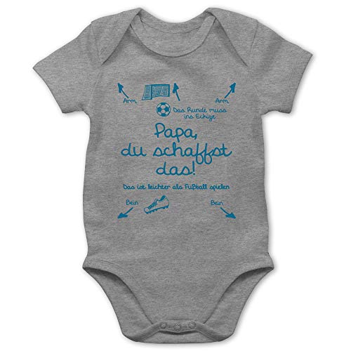 Shirtracer Strampler Motive - Papa du schaffst das Fußball Junge - 1/3 Monate - Grau meliert - Baby Strampler lustig Tante - BZ10 - Baby Body Kurzarm für Jungen und Mädchen