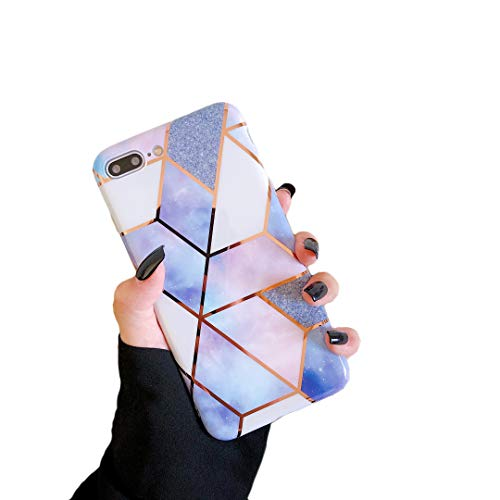 Cocomii Geometric Marble mármol iPhone 6S Plus / 6 Plus funda delgada suave TPU silicona gel banda reflectante Case Bumper Cover Compatible con Apple iPhone 6S Plus/6 Plus (púrpura/brillante)