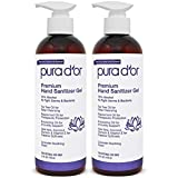 PURA D'OR Hand Sanitizer Gel LAVENDER Scent 2 PACK-16oz = 32oz Total. 70% Alcohol Kills 99% Germs w/Aloe Vera, Tea Tree: Waterless Deep Cleansing Moisturizing Formula Soothes, Fights Germs & Bacteria