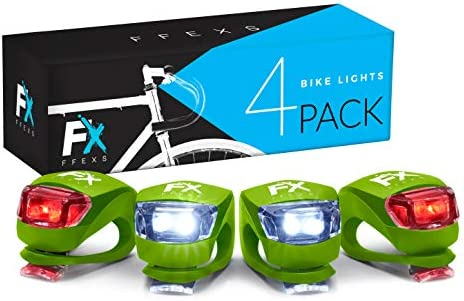 FX FFEXS Bike Lights Front and Back - Bright Bicycle Lights Front Rear with Waterproof Silicone Housing - Cycling Brighter Lamp Accessories - Not Rechargeable