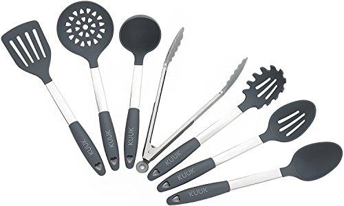 KUUK Set di Utensili da Cucina – Acciaio inossidabile e silicone- Senza BPA