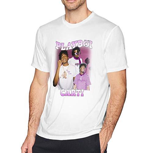 3D Printed Colorful Comfy DIY Rapper Playboi Carti Mens T Shirts O-Neck Short Sleeve White T-Shirt for Men,Tees Shirts Tops X-Large