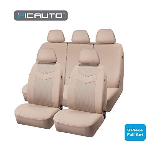 PIC AUTO Low Back Full Set Car Seat Covers - Jacquard Fabric, Airbag Compatible, Universal for Cars Trucks Vans SUVs (9pcs) (Tan)