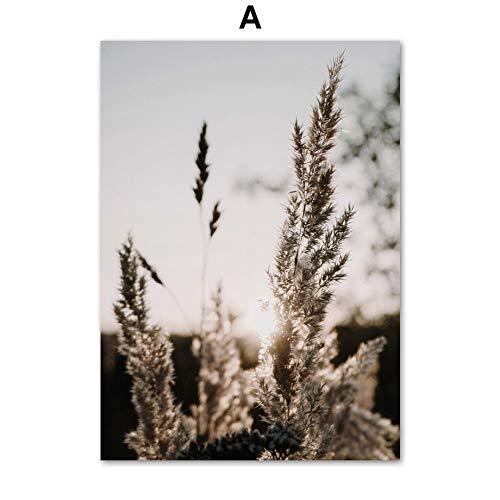 ZJMI Canvas print, natuurlijke gele en zwarte tarwe bladeren plant lijn Kiss aanbiedingen Nordic poster en print muur kunst canvas schilderijen aan de muur schilderijen voor woonkamer inrichting 20×30cm No frame