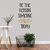 Wall Decal - Wall Decor - Inspirational Quote. for Girls Rooms, Teachers, Classroom Decor, Teens - Easy to Remove Black and Gold Vinyl Quote - Be The Reason Someone Smiles Today. DIY Decoration.