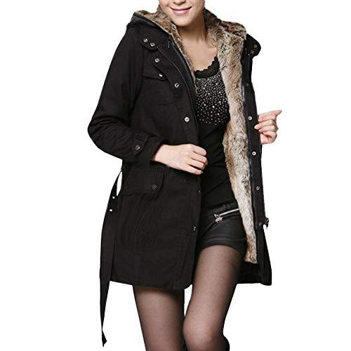 Damen Pelzfutter Mantel Damen Winter warme dicke lange Jacke Kapuzenparka Wolle Liner Frauen Windjacke langen Abschnitt ein Kleid drei tragen dicken Mantel Lässig Mantel(Schwarz,S)