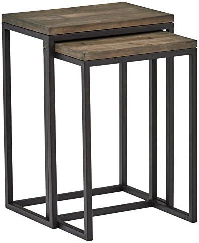 Best Amazon Brand – Stone & Beam Weston Wood & Metal Nesting Tables, Set of 2, Brown
