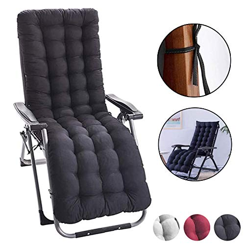 judysen Sun Lounger Cushions, Garden Furniture Cushions - Portable Garden Patio Thick Padded Bed Recliner Relaxer Chair Seat Cover for Travel/Holiday/Indoor/Outdoor (Black)