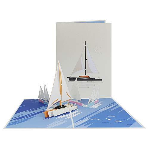 Pop Up Karte 3D Segelschiff Glückwunschkarte Segeln Reisegutschein Yacht Boot Geburtstagskarte Seemann Schiffsreisen Seereisen Seefahrt Maritim Kapitän (Yacht 203)