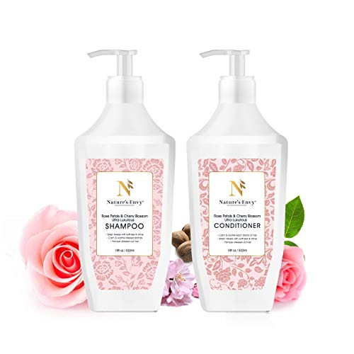 Nature's Envy Premium Shampoo and Conditioner Set, Rose Petal & Cherry Blossom For Dry, Damaged, Treated and Colored Hair, 18 fl oz x 2 - Sulfate Free - 100% Plant Based - Color-Safe & Paraben-Free