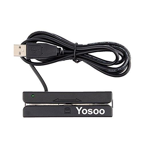 Lector de Tarjetas, Crédito Magnético con Deslizamiento USB 3 Pistas Lector de Tarjetas Hi Lo Co para Sistema POS Registro de Cajero Caja Registradora, Quickbook