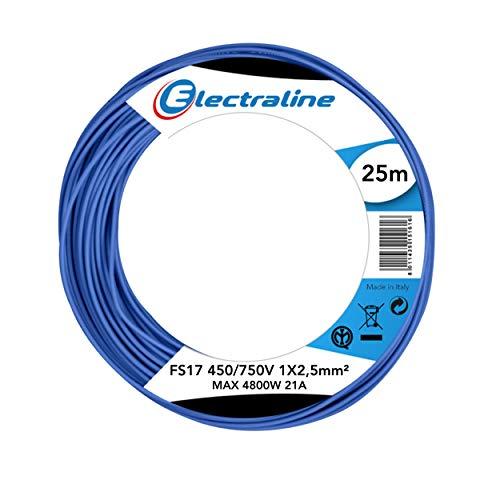 Electraline 13162Cable unipolar FS17, sección 1x 2.5mm², Azul, 25m