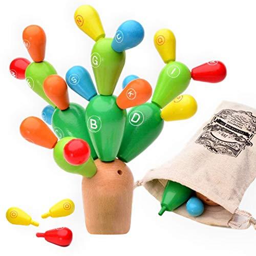 Crazy Kaktus: Balance Spiel zur Feinmotorik Förderung - Steckspiel Wackelturm - Stapelturm Holzspielzeug für Kinder - Geschicklichkeitsspiel mit Baumwoll-Beutel, 24 teilig