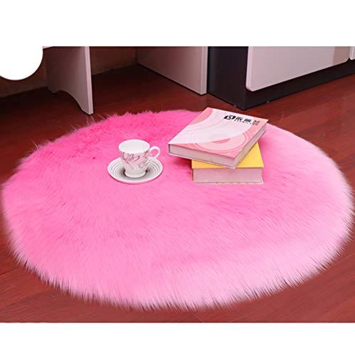 HLONGG Teppich Faux Lammfell Schaffell Liegestuhl Nachahmung Haut nachhaltig Schafe Fluffy Langhaar Dekorative weichen Stuhl-Kissen-Sofa-Matten,Rose,Diamètre 160CM