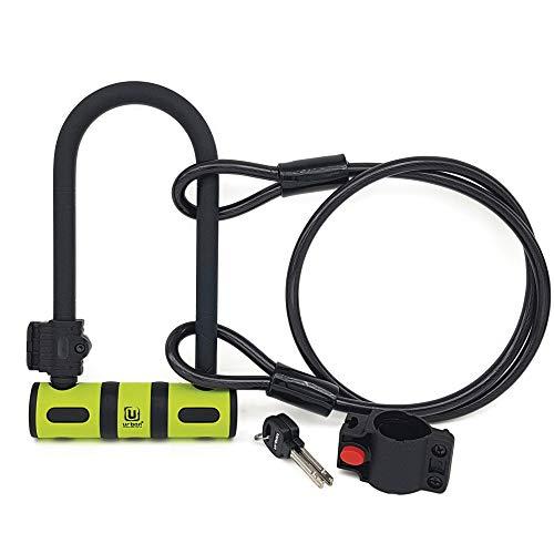 urban UR80150B Candado Antirrobo U 80x190 Endurecido Alta Seguridad con Cable Acero Flexible 120cm y Soporte Bicicleta, Amarillo