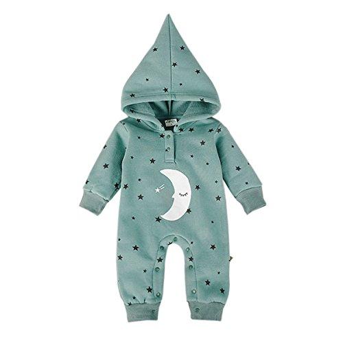 Bebone Baby Mädchen Stern Mond Kapuze Cartoon Vlies Strampler (Grün, 0-3 Monate)