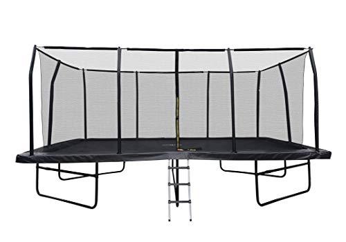 JUMP4FUN Cama elástica de jardín Rectangular XXXL 518 cm x 305 cm Modelo Familia – Pack Completo con Red de Seguridad, colchón de protección y Escalera