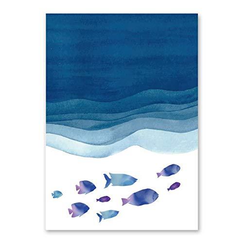 JXMK Decoración de Peces de mar Azul Lienzo Pintura sofá Sala de Estar Dormitorio Fondo Pintura de Pared decoración del hogar Cocina 40x50 cm