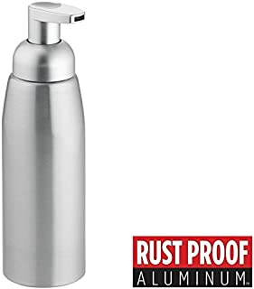 mDesign Dispensador de jabon recargable - Dosificador de espuma en aluminio con válvula dosificadora - Dispensador de gel con capacidad de 414 ml - pulido/plata mate