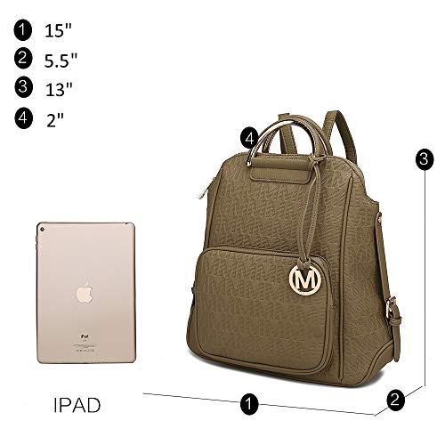 Mia K Collection PU Leather Backpack Purse for Women & Teen Girls - Ladies Fashion Travel - Big Bookbag Top-Handle blue Size: L