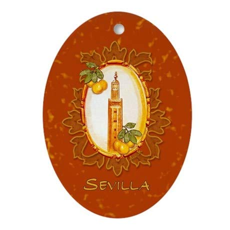 Yilooom Sevilla/Spain (1) Oval Flat Ornament Hanging Decoration Ceramic Ornament Porcelain Special Keepsake Art Display - 3