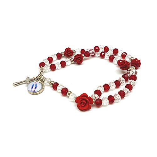 DELL'ARTE Artículos religiosos, rosario pulsera de cristal de 5 mm con rosas – Color rojo y blanco