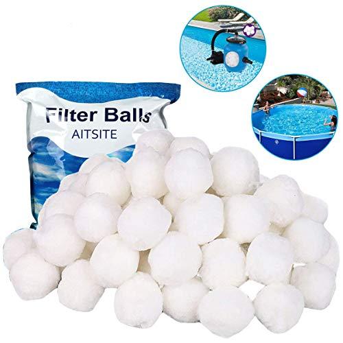 Aitsite Filterbälle 700g 8 Liter Filter Balls (mit Wäschenetze) ersetzen 25 kg Filtersand für Pool Sandfilter, Schwimmbad, Filterpumpe