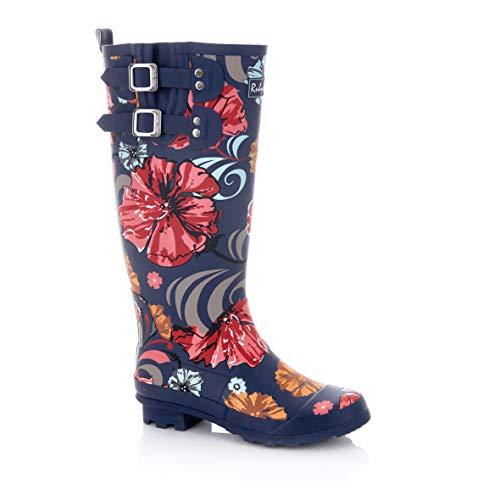 Ruby Shoo Damen Stiefel Esme Florale Vintage Gummistiefel Blau Geschlossen 39
