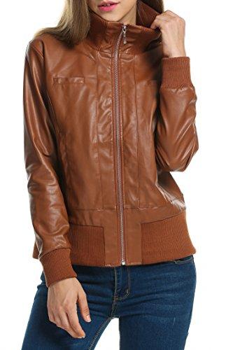 Zeagoo Damen Lederjacke Kunstlederjacke Biker Motorrad Kurze Leder Jacke mit Reißverschluss Hohe Kragen Braun M